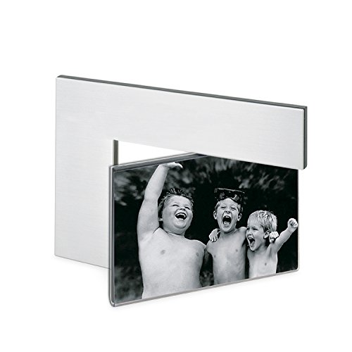 (Marketing Innovations Intl Two-sided Photo Frame In Brushed Aluminum, Acrylic Photo Sleeve, For 4