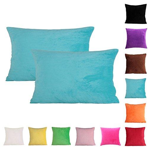 Queenie® - 2 Pcs Solid Color Chenille Decorative Pillowcase