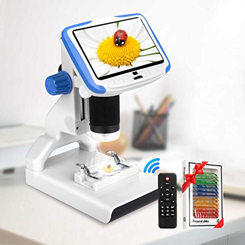 Digital Microscope Hollee 5 Inch FHD LCD Microscope 200X Magnification Zoom USB Stereo Microscope Camera 12MP Rechargeable LED Lights with Sample Slides for Children Kids Laboratory Education
