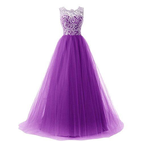 Bridal Prom Party Tulle Homecoming Line Dresses Lace Purple Dora Evening Long Women´s A dnxtwqYdU8