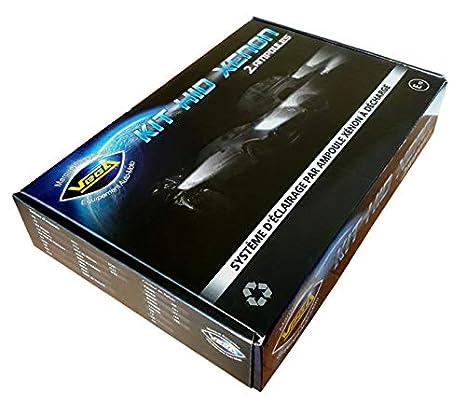Kit HID Xénon Marque FRANCAISE Vega® H7C 6000K 55W Slim DSP AC ampoules à embase métallique