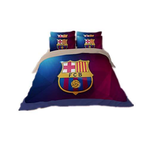 Judy Dre am Football Fans Bedding Set 4pcs Home Textile Polyester Fashion Sports Style Duvet Cover Sets 4-Piece Barcelona Fans Bed Set 4pcs Soft Breathable Bedding Sets Full Size ()