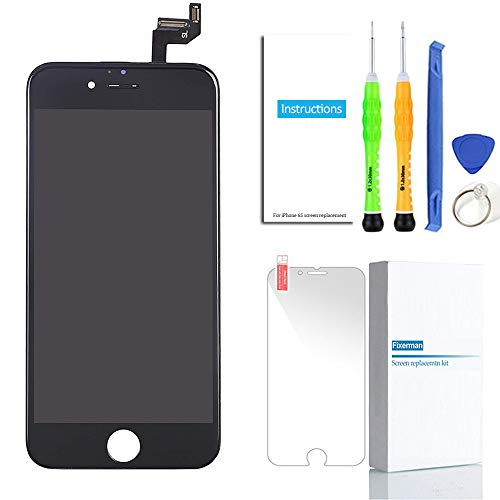 Fixerman for iPhone 6S Screen Replacement Black LCD Display Touch Screen Digitizer Frame Assembly Full Set with Repair Kit Tools for iPhone 6S 4.7 inch(Black)