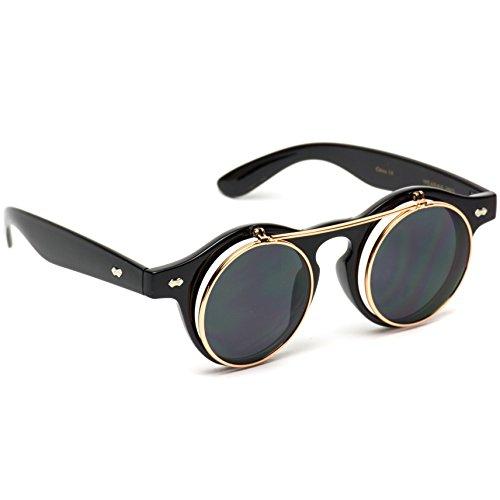Lunettes Black Frame Rimmed rond rétro Cyber rabattable Steampunk à Cercle soleil de Gold Lens Black YqATx4gwxn
