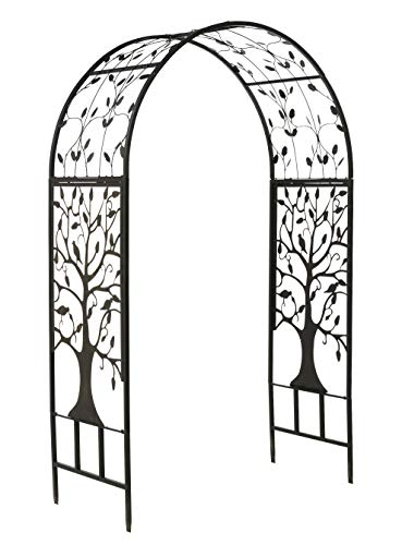 "Plow & Hearth Arched Metal Garden Arbor with Symbolic Tree of Life Design, Weather-Resistant Matte Black Powder-Coat Finish and Burnished Bronze Highlights, 53"" W x 22¾""D x 83"" H"