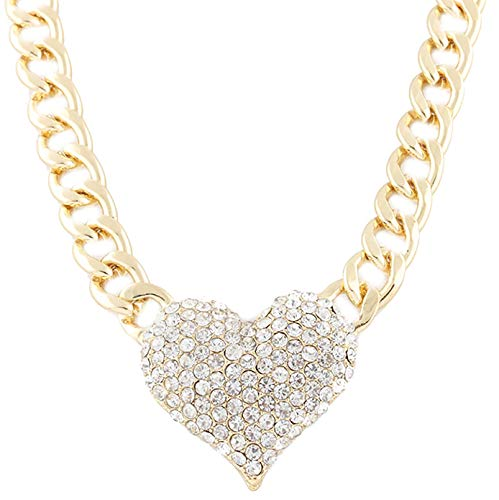JOTW Goldtone Iced Out 3D Heart Pendant with a 16 Inch Adjustable Link Necklace (B-1090)