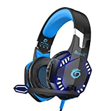 VersionTECH. Gaming Headaset for PS4 Xbox One, G2000 Gaming Headphones with Noise Cancelling Mic, LED Light, Stereo Bass Surrouns for Laptop PC Nintendo Switch Games -Blue