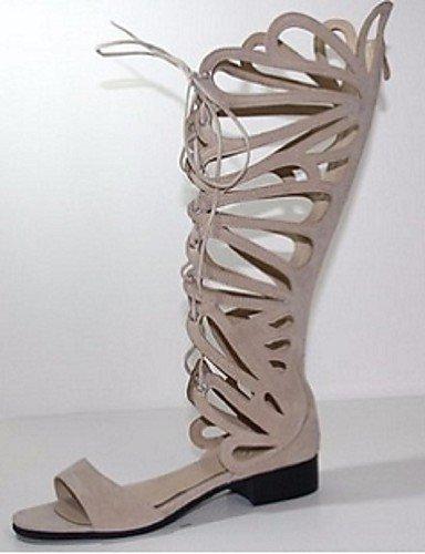 ShangYi Women's Shoes Fleece Flat Heel Open Toe Sandals Office  Career / Party  Evening / Dress Red / Beige