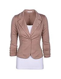 Elonglin Women's Lapel Blazer Casual Open Front Work Office Jacket Suit Blazer