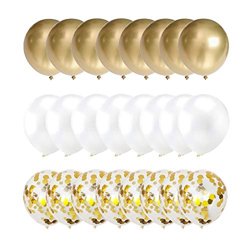 "LYVEEF Confetti Balloons 12"" Party Balloons Latex Balloons Birthday Balloons Baby Shower Balloons Wedding Balloons for More Parties 50 Pcs Pack-White, Gold, Golden Confettii Balloons with Ribbon"