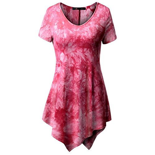 Clearance Sale! Wintialy Women's Casual T-Shirt O-Neck Blouse Printed Short Sleeve Irregular Tops Plus (Amazon Sale)