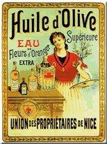 French Metal Sign 'Huile D'olive - Fleurs D'oranger' - 12'x16'