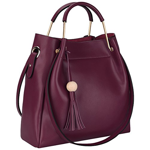 S-ZONE 3-Way Women Designer Leather Tassel Handbag Shouler Bag Crossbody...