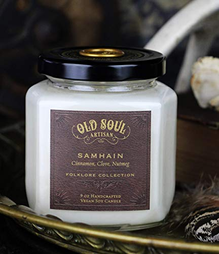 Samhain - Cinnamon, Clove, Nutmeg Candle - Pagan Witch Autumn Magick Ritual Goth Halloween Gift 9oz ()
