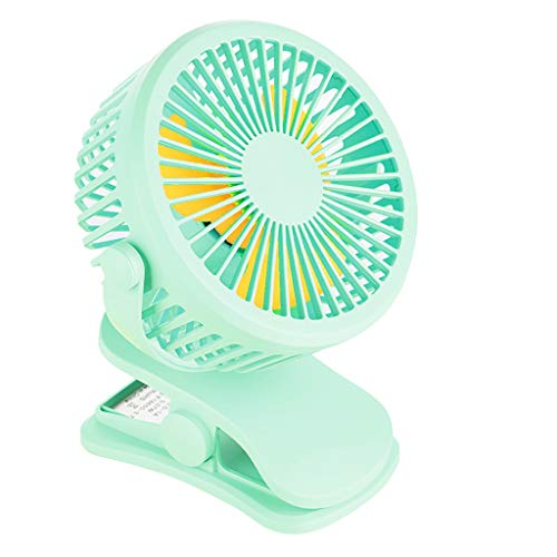 ❤Ywoow❤❤ , Portable USB Rechargeable Clip On Fan Night Light 360° Rotatable Desk Mini ()