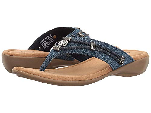 Minnetonka Women's Silverthorne Thong Blue Denim Fabric 5 M US