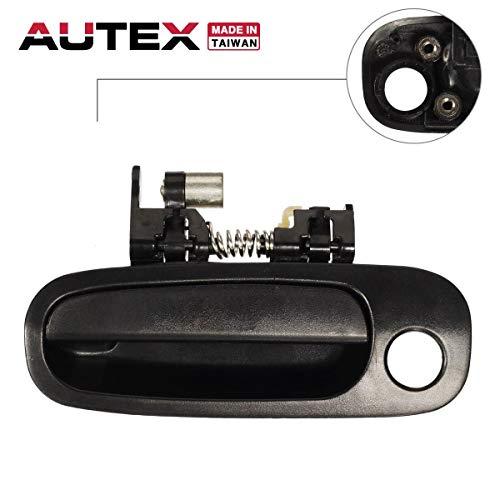 AUTEX Door Handle Black Exterior Front Left Driver Side Compatible with Toyota Corolla,Chevy Prizm 1998 1999 2000 2001 2002 Door Handle 77563 6922002040C1 TO1310132