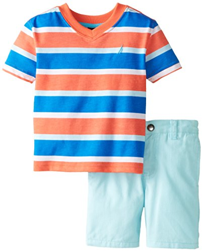 Nautica Baby Boys' 2 Piece Striped V Neck with Twill Short, Coral Sun, 24 Months