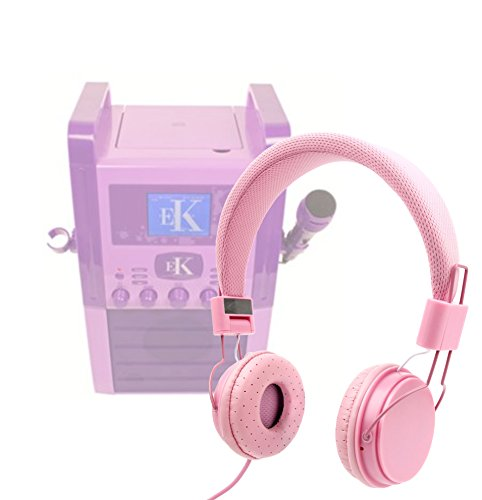 Price comparison product image DURAGADGET Pretty Pink Ultra-Stylish Kids Matching Fashion Headphones For Easy Karaoke EKS515 Karaoke Machine with Screen
