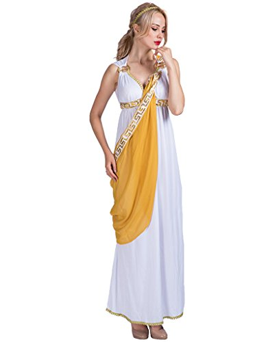 EraSpooky Women's Roman Lady Greek Goddess Costume(White, OneSize) ()