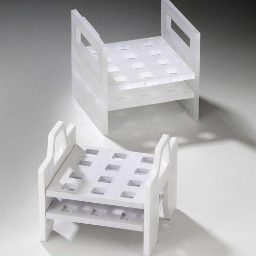 Bel-Art F18516-0787 Cuvette Rack; 10mm, 12 Places, Stackable, 4¼ x 4⅜ x 4⅜ in., Polypropylene Cuvette Rack