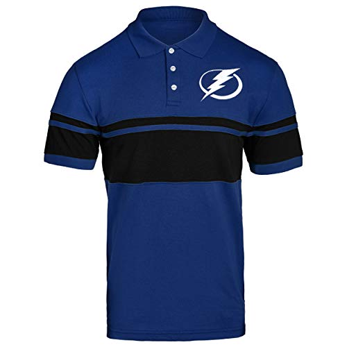 - FOCO NHL Tampa Bay Lightning Cotton Stripe Polo - Mens Large