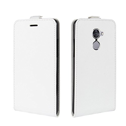 Scheam for Vodafone Smart V8 Genuine Leather Wallet Case Cover, Flip Stand, Card Slot, Stylish, White
