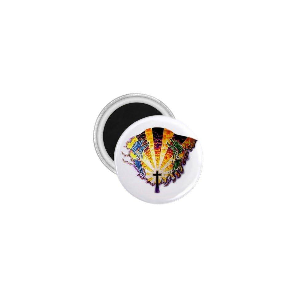 Tattoo Cross Heaven Art Fridge Souvenir Magnet 2.25