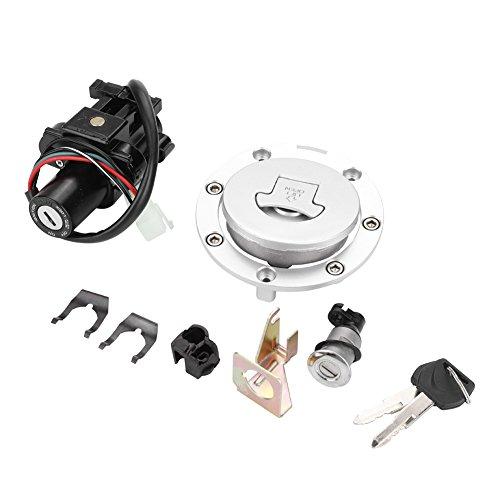 Qiilu Ignition Switch Fuel Gas Cap Seat Lock Key Set for Honda CBR600 F4 F4I 2001-2006 ()