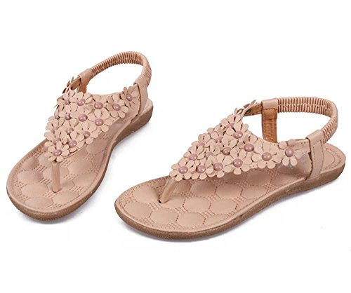 Dayiss Damen Römersandalen flach Blumen T-Straps Sandalen Urlaub Strandschuhe Sommer Schuhe Hellrosa