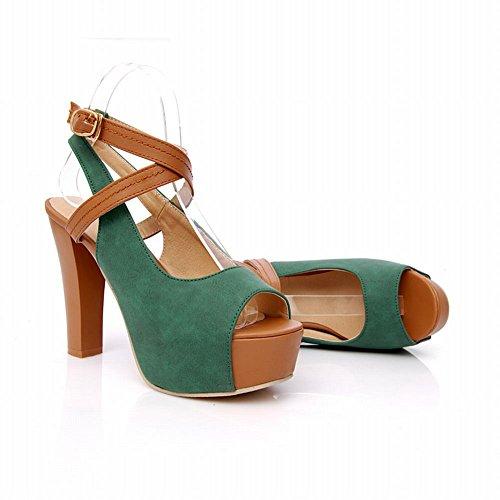 Carolbar Chic Womens Buckle Assorted Colors Sexy Fashion Summer Platform High Chunky Heel Sandals Deep green eWz12fa2nA