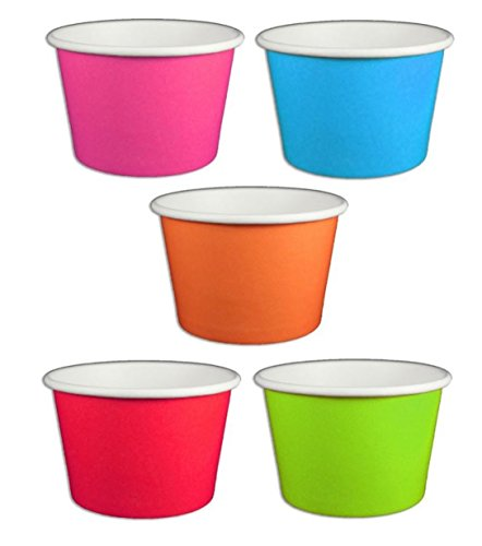 Solid Rainbow Color Ice Cream Cups 8 oz - 50 count (8 Oz Ice Cream Cups compare prices)