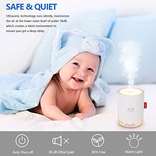 Humidificateur d'Air Achort 500ml Silencieux Humidificateurs Ultrasonique à Brume 2 Modes de Brume avec LED Arrêt Automatique sans Eau pour Le Maison Bureau Salon Chambre de Bébé Enfants
