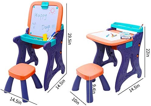 Art Easels With Chair For Kids- Learning Table For Toddlers- Toddler Art Easel With Dry Erase Board