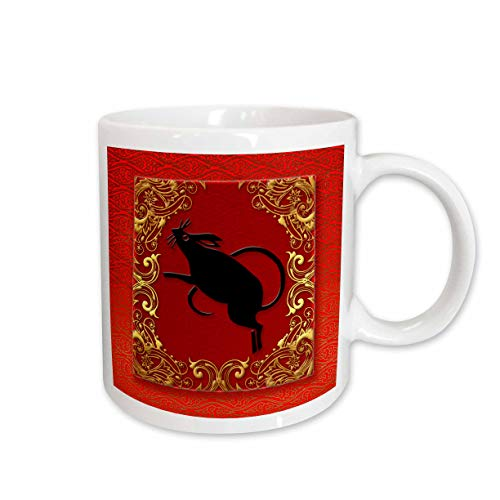 3dRose Chinese Zodiac Year of The Rat Chinese New Year Red Gold and Black Ceramic Mug, 11-Ounce