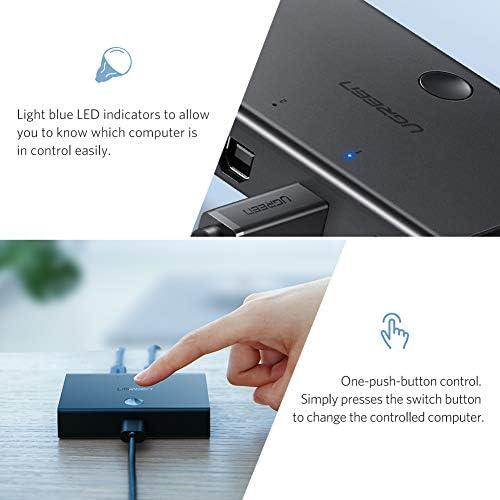 USB 2.0 Switch 2 x 1, UGREEN Conmutador USB 2 Entradas y 1 Salida ...