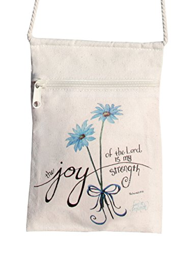 Christian Womens Strap (Jan Marvin Art of Joy Cotton Canvas Joy of the Lord Bible Verse Crossbody Cell Phone Tote Bag with Zipper and Starfish Pendant, Small 6W x 9H Inch)