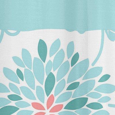 Sweet Jojo Designs Kids Bathroom Fabric Bath Modern Turquoise and Coral Emma Shower Curtain