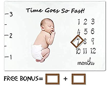 """Large 60x40"""" Wrinkle-Free Growth Baby Monthly Milestone Blanket by Tiny Gifts"""