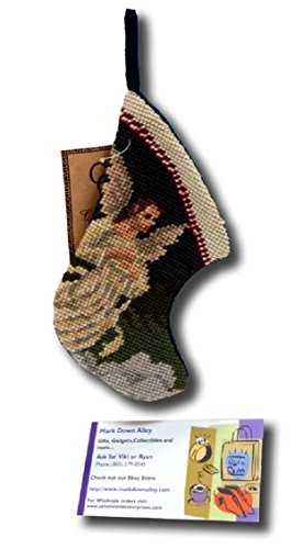 Mini Angel Stocking Needlepoint Patchwork Christmas Xmas Seasonal SK-811XS White, Red, Black