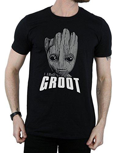 Homme Noir shirt Face Guardians T Marvel Of Groot Galaxy The qzwUd