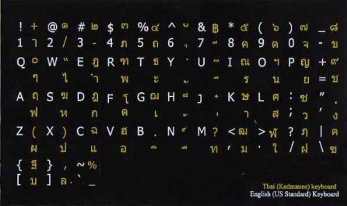 THAI-ENGLISH NON-TRANSPARENT KEYBOARD STICKERS ON BLACK BACKGROUND