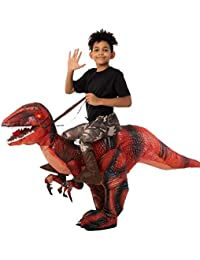 Inflatable Halloween Costume Ride A Raptor Inflatable Costume with LED Light Eyes - Child Unisex