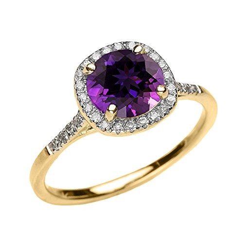 Dainty 10k Yellow Gold Halo Diamond and Amethyst Centerstone Engagement Proposal Ring (Size 4)