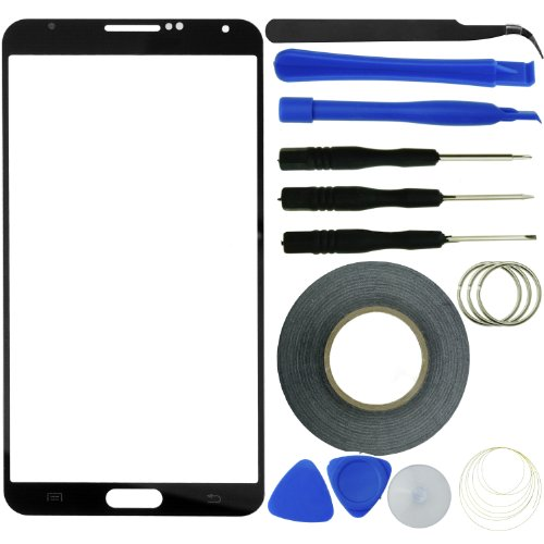 Eco-Fused Screen Replacement Kit for Samsung Galaxy Note 3 including Replacement Screen Glass / Tweezers / Adhesive Tape / Tool Kit / Microfiber Cleaning Cloth