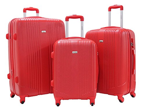 "Set of 3 Suitcases Alistair ""Airo"" - Abs Ultra Leger - 4 Wheel - Red"