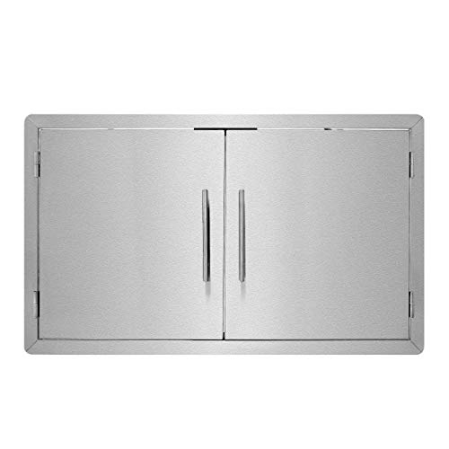 AdirHome Stainless Steel Grill Double Access Single-Face Door - Easy Install Heavy Duty Stainless Steel Rust Resistant Access Door with Chromium Plated Handle (36 Inch) Double Stainless Steel Grill