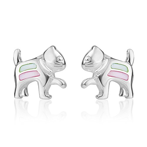 Green Mother Of Pearl Shell (Sterling Silver Pink Green Mother of Pearl Shell Little Cat Kitten Post Stud Earrings 11 mm)