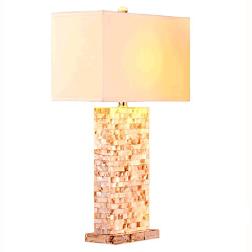 European Creative Shell Mosaic Table Lamp, Fashion Luxury Postmodern Crystal LED Table Lamp, Square Fabric Lampshade, Home Living Room Bedroom Study Lighting ()