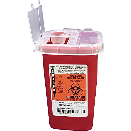 Unimed-Midwest 1 Quart Flip Top Sharps Container, 6.3″ x 4.5″ x 4.3″, Red